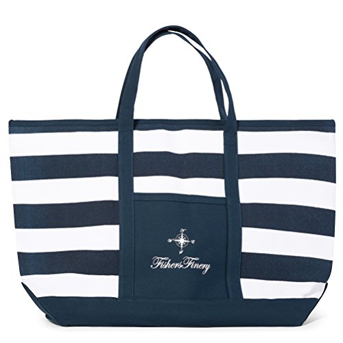 Fishers Finery Blue Beach Bag Travel Tote Bag for Women Lady Bag (Navy, XL)