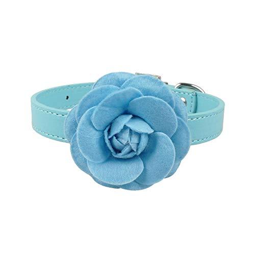 Collar de piel de perro, collar de compañía para perros, piel sintética, bonito con flor para perros pequeños, cachorros, rosa, rojo, morado, azul y rosa