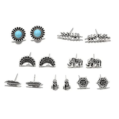 Kudiro Accesorios de joyería Juego de pendientes de aro de perla Conjunto de aretes de aro de múltiples elementos destacados personalidad, 7 pares (plata)