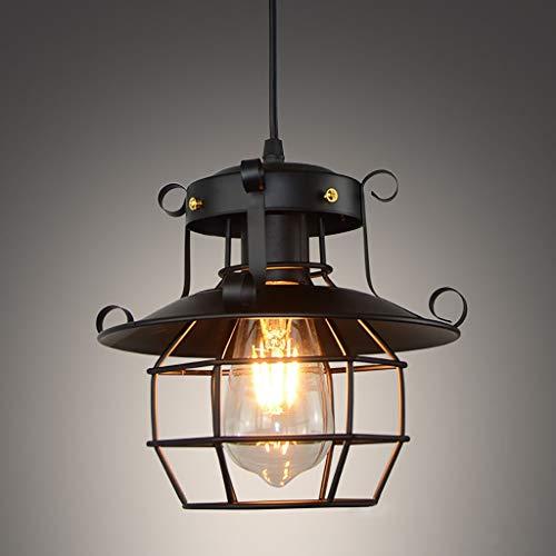 Lámpara colgante de techo de metal industrial clásico con casquillo E27, lámpara de araña rústico Edison para cocina, isla, comedor, granja, entrada, vestíbulo, pasillo (negro)