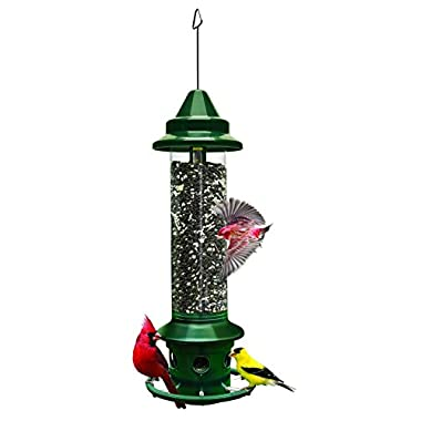 Squirrel Buster Plus 6 x6 x28  (w/hanger) Wild Bird Feeder with Cardinal Ring and 6 Feeding Ports, 5.1lb Seed Capacity