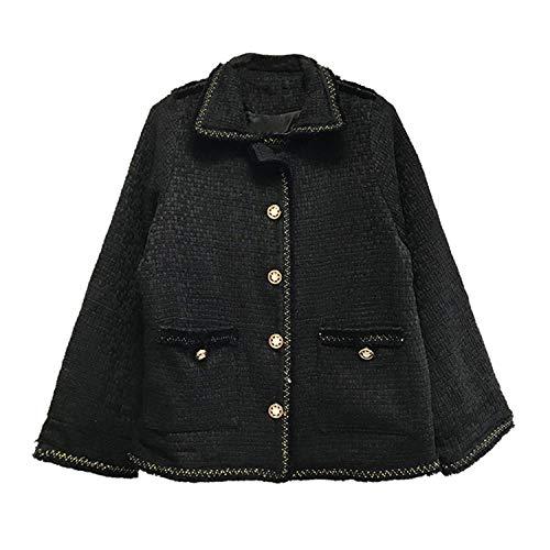 Vrouwen Zwarte Tweed Effen Bovenkleding Knop Draai Omlaag Kraag Vintage Retro Jas Pocket