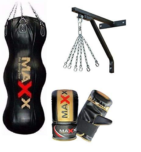Maxx Black 4FT Triple body bag uppercut bag punch bag angled boxing bag free chain punching bag set BAG WITH BRACKET MITTS