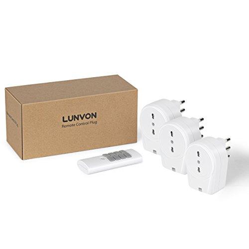 Lunvon Presa Telecomando, Wireless Interruttore Spine, Presa radiocomandata fino a 30m di Raggio Operativo, 1000W (3 Prese, 1 Telecomando)