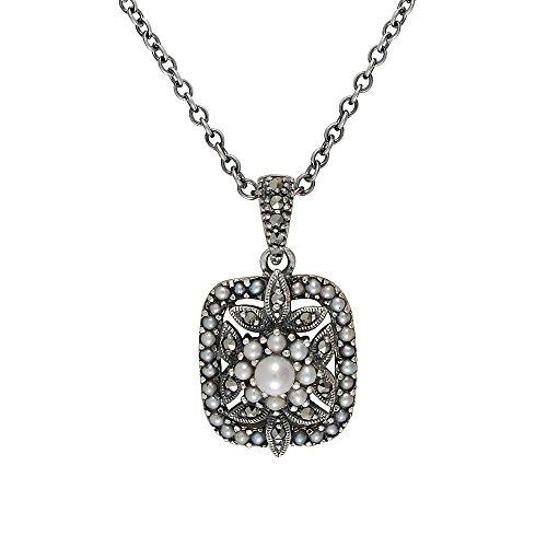 Esse Ring Markasit Sterling Silber chinesische Süßwasserperle und Markasit Viktorianische Halskette von 40–45cm