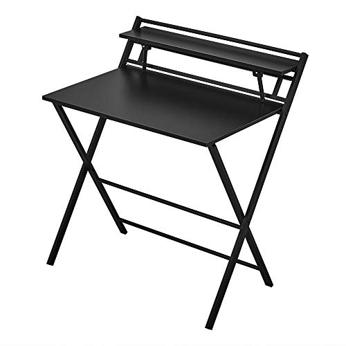 Panana Folding Computer Gaming Desk, Portable Wooden Study Writing Desk PC Laptop Workstation Meeting Office Table Metal Frame Home Adults Kids Children Black