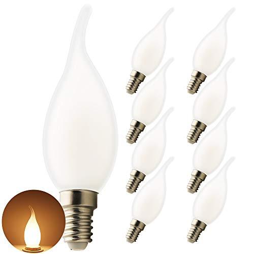 8er Pack LED E14 5W Kerze Glühbirne, Warmes Licht 2700K, 450lm, CRI>80, kleine Edison-Schraube,klar Glas Shell, nicht dimmbar Kandelaber LED Birne.Ideale Lichtquelle für Kronleuchter