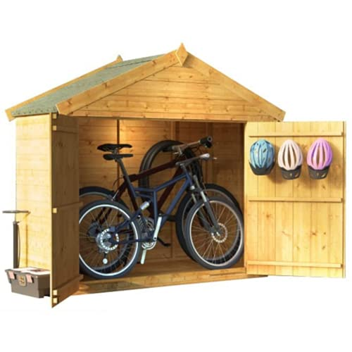 BillyOh Mini Master Bike Store with Apex Roof and Floor Wooden Bike Shed Garden Storage Box (3 x 6)
