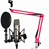 Rode NT1-A Set de micrófono condensador + Keepdrum NB35 RD rojo micrófono brazo trípode rojo