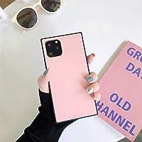 Zwppg ピュアカラースクエアガラスハードシェルウエスト携帯電話ケースiphone11 pro max X 7 6 8Plusシンプルファッション用-3-For iPhone 7 Plus