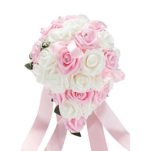 Vlovelife Wedding Bouquet Mix White & Baby Pink PE Rose Flowers Bridal Bridesmaid Bouquets Artificial Flower Satin Ribbon Decor Handmade Posy Pearl Rhinestone Plant Leaf Vine Decor