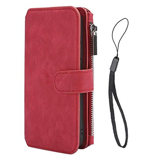 Carteira Bolsa Smartphone, capa para celular, capa para celular, loja de cartões vermelhos segura e durável para celular(red, iphone XS MAX)