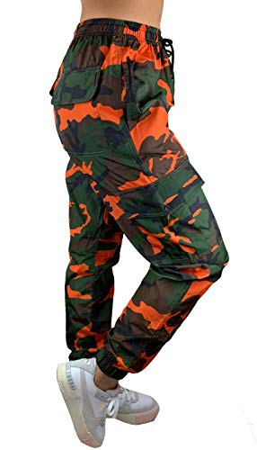Worldclassca Damen Camouflage Cargohose Jogginghose Windbreaker GLÄNZEND Hose NEON Farben Army Fitnesshose Sweatpants Freizeithose Fitness Blogger S-XL 36-42 NEU (L, Camouflage-OrangeGrün)