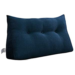 VERCART Cojín de Lectura Almohada Lumbar Espalda Triangular Cojín de Lectura Almohada de Lectura Cuña Ergonómico Dossier para Sofá Cama Pallet Azul Oscuro 100CM