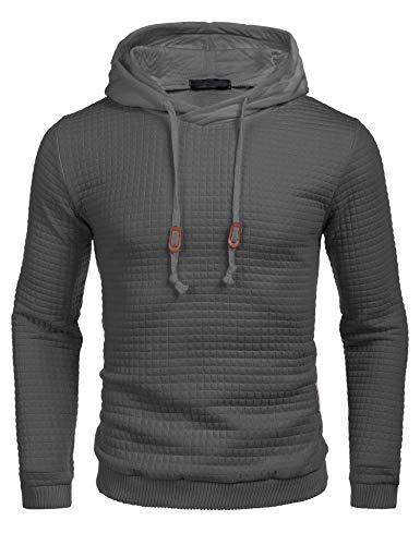 COOFANDY Men's Sweatshirt Hipster Gym Long Sleeve Drawstring Hooded Plaid Jacquard Pullover Hoodies Dark Gray