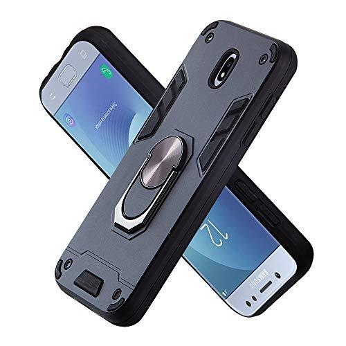 FAWUMAN Armure Coque Samsung Galaxy J530 / J5 Pro, Boîtier PC + TPU Double Layer Housse résistant aux Chocs avec Support à Anneau Rotatif à 360 degrés (Noir)