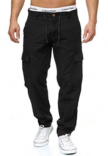 Indicode Herren Leonardo Cargohose aus 55% Leinen & 45% Baumwolle m. 6 Taschen | Lange Regular Fit Cargo Hose Baumwollhose Leinenhose Freizeithose Bequeme Stoffhose f. Männer Black XL