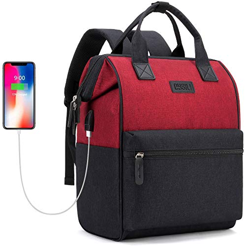 Travel Laptop Backpack, Wide Open Work Bag Lightweight Laptop Bag with USB Charging Port, Anti Theft Business Backpack, Water Resistant School Rucksack Gifts for Men Women (15.6'Black-Red)