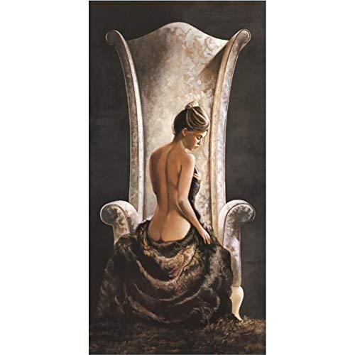 ZHANGFBH Leinwand Gemälde Leinwand Wandkunst - Klassische Ölgemälde Druck Auf Leinwand Die Schönheit Im Stuhl Poster Für Wohnzimmer Wohnkultur