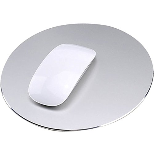 Aluminum Metal Gaming Mouse Pad, Utoptech Alloy Rubber Anti-Skid Non-Slip Office Thin Waterproof Hard Fast Accurate Control Mousepad for Apple MacBook and Computer, 8.6 x 8.6 inches (Silver, Round)