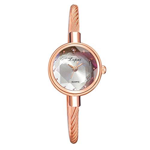 QWRjj Uhren Damenuhr Kleine Rose Gold Armreif Armband Geometrische Glasoberfläche Damenuhren-Grau