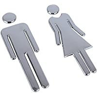 DEOMOR Señales Baño Signo Mujer Hombre Placa Puerta WC Señalización Aseos 6,5x20cm (Plateado)