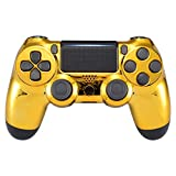 eXtremeRate Chrome Gold Replacement Front Housing Shell for Playstation 4 PS4 Pro Slim JDM-040 JDM-050 JDM-055 Controller - Controller NOT Included