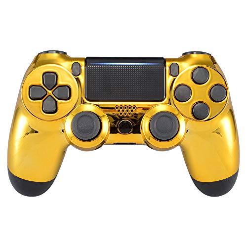 eXtremeRate Hülle für PS4 Controller, Case Gehäuse Cover Oberschale Schutzhülle Skin Schale Shell für PS4 Pro PS4 Slim Playstation 4 Controller (CUH-ZCT2 JDM-040 JDM-050 JDM-055)-Chrome Gold
