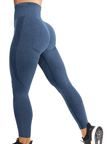 HIGORUN Women Seamless Leggings Smile Contour High Waist Workout Gym Yoga Pants Darkblue S