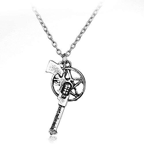 NC188 Necklace Gun Pentagram Pendant Necklace Vintage Jewelry Ornaments Necklace Chain Pendant for Women Men