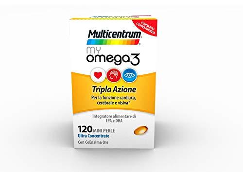 Multicentrum MyOmega3 Integratore Alimentare, Tripla azione funzione cardiaca, cerebrale e visiva, Senza Glutine, 120 capsule