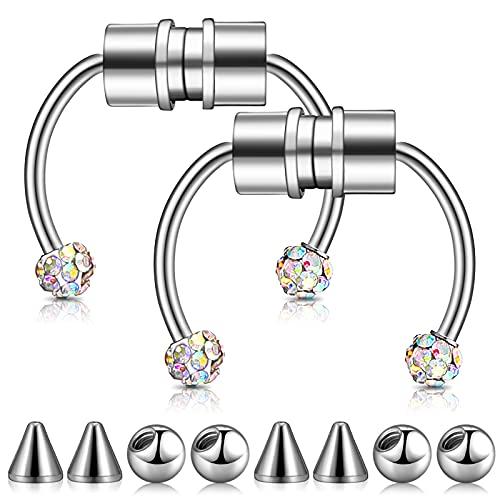 2 Stücke Magnetische Septum Nasenring Wiederverwendbare Gefälschte Hufeisen Hoop Edelstahl Nasenringe Magnet Hufeisen Ring auf Nase für Frau Mann, Silber