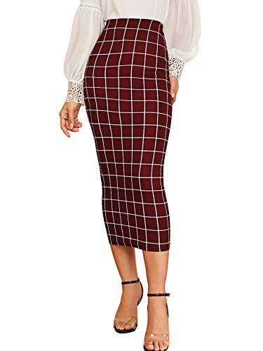Verdusa Women's Elegant Plaid Elastic Waist Bodycon Midi Skirt Burgundy M
