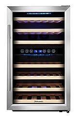 KRC-45BSS Compressor wijnkoelkast, 120 liter, 45 flessen (tot 310 mm hoogte), 2 zones 5-10°C/10-18°C, 7 houten baaien, LED display, roestvrijstalen glazen deur*