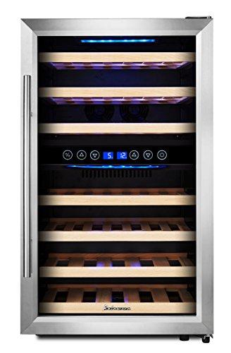 KRC-45BSS Kompressor Weinkühlschrank, 120 Liter, 45 Flaschen (bis zu 310 mm Höhe), 2 Zonen 5-10°C/10-18°C, 7 Holz-Einschübe, LED-Display, Edelstahl Glastür