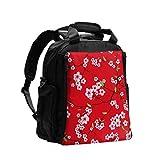 Bolsa de pañales Mochila de mano Sakura chino Kimono Rojo transparente Vector cambiador Bolsa Organizador Mochila de viaje multifunción con almohadilla para cambiar pañales para el cuidado del bebé