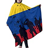 Delantal unisex con diseño de la bandera de Colombia para corte de pelo para hombres y mujeres, corte de pelo en casa, barbería o peluquería, 55 66 pulgadas