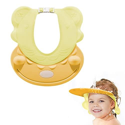 SVTEOKO Gorro Ducha Bebe Gorro de Ducha Ajustable para Niños visera de baño para niños y bebés Estilos de Hipopótamo (tamaño de la cabeza 38 cm-60 cm) (amarillo)