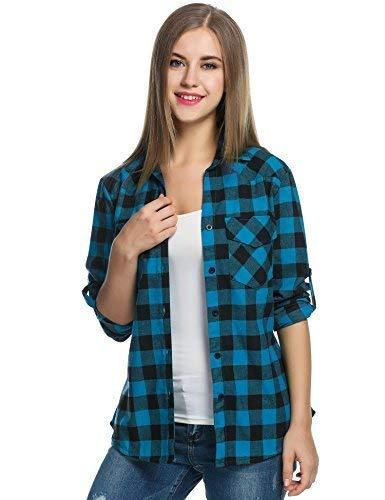Zeagoo Womens Tartan Plaid Flannel Shirt