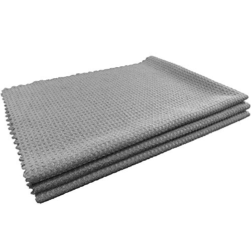 """SHSCLY Waffle Weave Drying Towel Microfiber Cleaning Cloth for Kitchen Household Car Large Lint-Free Water Absorption Decontamination Soft Dish Towels (Gray, 3 Pack 18"""" x 24"""")"""