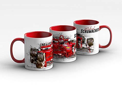 gasoline.gallery Formel 1 Tasse - Michael Schumacher - Scuderia Ferrari - 1997 Front Kaffeebecher Rot