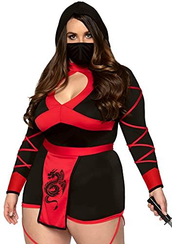 Leg Avenue Women's Plus Size Dragon Ninja Costume, Black/Red, 1X-2X