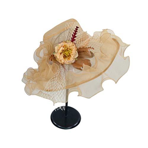 Mikiya - Cappello da Donna in Rete con Velo da Chiesa, Stile Derby del Kentucky con Volant e Fiori Artificiali e Piume, Grande Bordo Largo, Ideale per Matrimoni BE