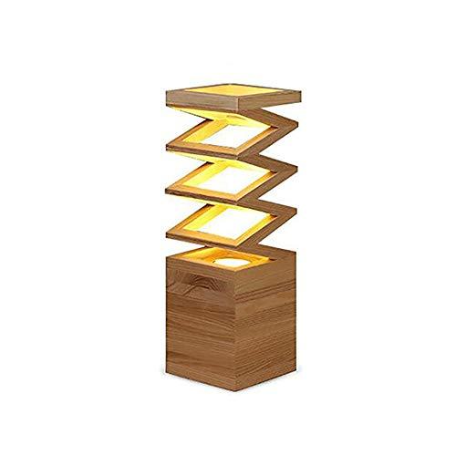 Yilingqi-1 eenvoudige massief houten veer tafellamp moderne persoonlijkheid bureau lamp slaapkamer nachtkastje licht