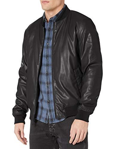Black Bomber Leather Jacket Men's