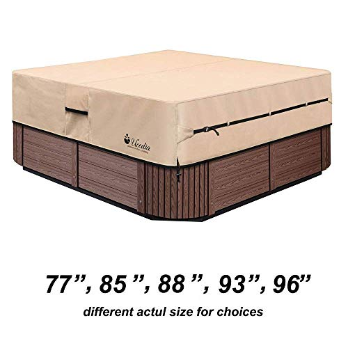 pool spa part Hot Tub Outdoor Cover Cap Heavy Duty Water-Resistant Polyester(actual size 96''x96''x20'' Fit 95''x 95'')100% Waterproof Spa Sun Shield and Hot Tub Cover Protector