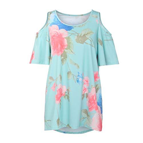 TWIFER Damen Schulterfreies T Shirt Mit Blumenmuster Lässige Bluse Mit Losen Spitzen Tee