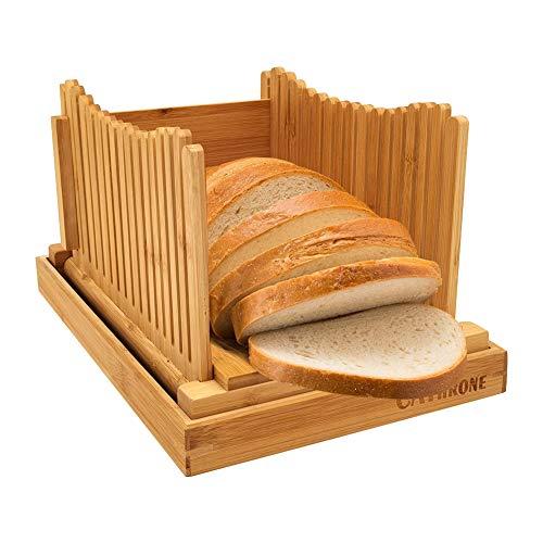 Bambú Madera Cortadora de pan para pan casero Tabla de cortar tostadas, Panificadora de Espesor Ajustable para Tartas de Pan Bagels Sandwich, Plegable Soporte para cortar pan con Bandeja recoge migas