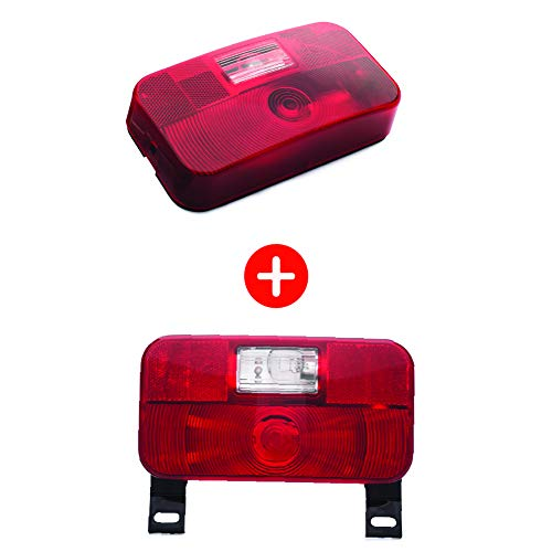 Lumitronics RV Red Surface Mount Tail Light and Red Surface Mount License Light with Bracket - Stop/Turn/Tail
