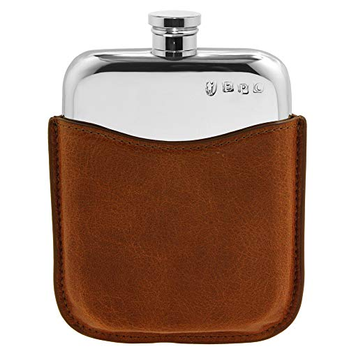 Hip Flask with Luxury Leather Pouch